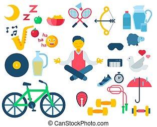 nutrición, vida, natural, iconos, sano, moderno,...