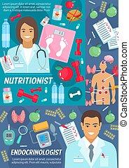 nutricionista, cartel, médico, endocrinologist