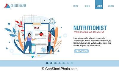nutricionista, consulta, página, tratamiento, aterrizaje