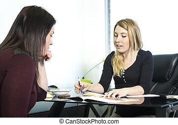 nutricionista, escritório, consultar
