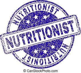 nutricionista, estampilla, textured, grunge, sello