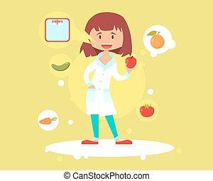 nutricionista, lindo, mujer