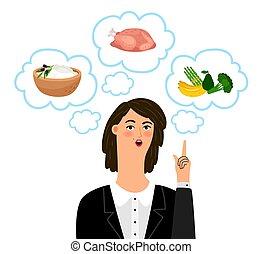 nutricionista, niña, concepto, dietology