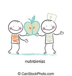 nutricionista, paciente, manzana, da