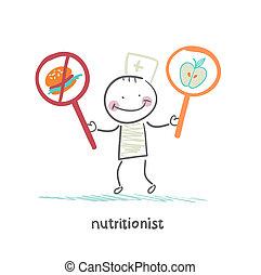 nutricionista, promotes, alimento sano