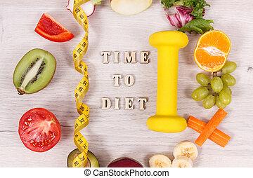 nutriente, nutrizione, vitamina, concetto, naturale, cibo, centimetro, dimagrante, fonte, dumbbell, sano