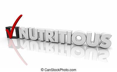 nutriente, scatola, parola, cibo, dieta, marchio, illustrazione, assegno, 3d