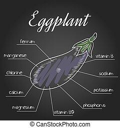 nutriente, vector, lista, berenjena, ilustración