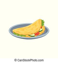 nutritif, omelette, restaurant, légumes, nourriture, menu, élément, vecteur, café, illustration, fond, frais, frittata, conception, petit déjeuner, blanc