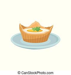 nutritif, poached, restaurant, brioche, menu, nourriture, vecteur, café, illustration, fond, frais, conception, petit déjeuner, élément, blanc oeuf