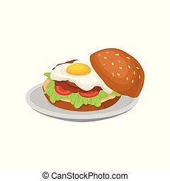 nutritif, restaurant, nourriture, illustration, élément, hamburger, vecteur, café, menu, fond, frais, conception, petit déjeuner, frit, oeuf blanc