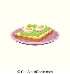 nutritif, sandwich, restaurant, nourriture, illustration, élément, vecteur, café, menu, fond, frais, conception, petit déjeuner, oeuf blanc