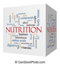 Nutrition 3D cube Word Cloud Concept