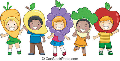 Illustration of Kids Dressed as Fruits and Vegetables