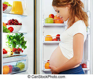 nutrition and diet during pregnancy. Pregnant woman with fruits and vegetables