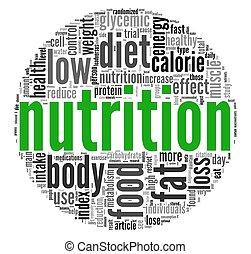 nutrition, concept, dans, étiquette, nuage