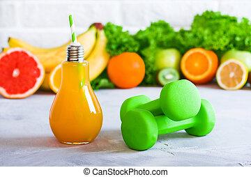 nutrition, concept, manger, sain, idées, régime, sports, plan, detox, boissons