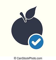nutrition, confirmer, pomme, signe., symbole., illustration, chèque, vecteur, tique, icône, fait, approuvé, complété, icône
