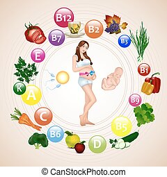 Nutrition during pregnancy. Pregnant woman with pink, blue...
