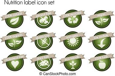 nutrition, ensemble, étiquette, icône