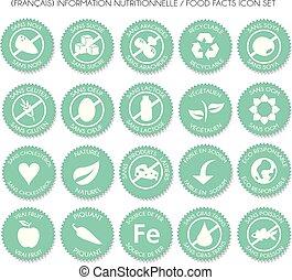 nutrition, ensemble, francais, étiquette, vecteur, icône