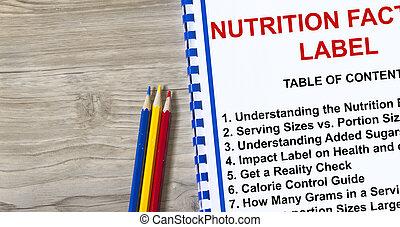 Nutrition fact label concept