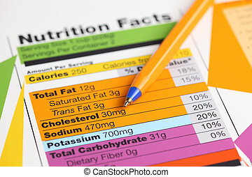 Nutrition facts and ballpoint pen. Close-up.