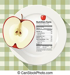 Nutrition facts apple  - Vector of Nutrition facts apple