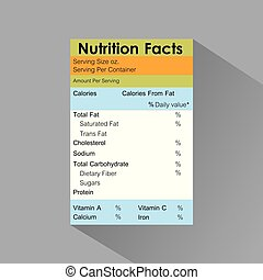 nutrition facts food label template with shadow