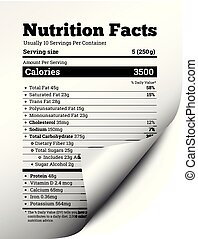 Nutrition facts label design with page curl. Vector