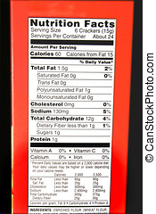nutrition facts label on a red box of food