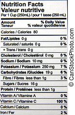 Nutrition Facts - Nutrition facts of a bottle of juice