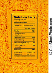 Nutrition facts of cheddar cheese message on a block of cheese