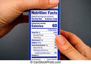 Nutrition facts on food box in woman hands