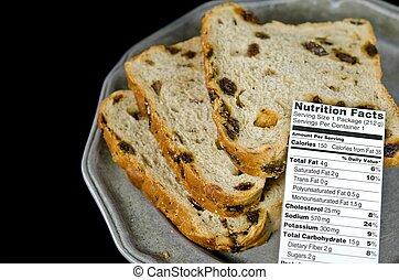 nutrition facts on raisin bread