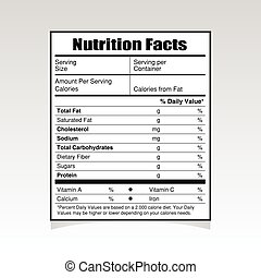 nutrition facts paper illustration
