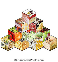 Food pyramid represents way of healthy diet