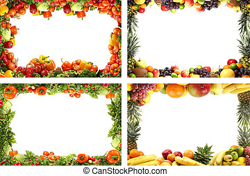 Nutrition frames isolated on white