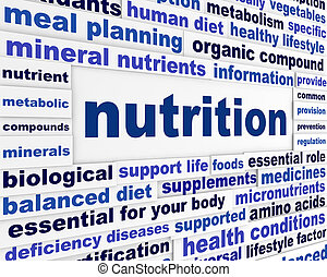 Nutrition healthy life style concept. Health care creative words poster