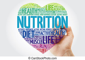 Nutrition heart word cloud with marker