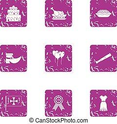 Nutrition icons set, grunge style - Nutrition icons set....