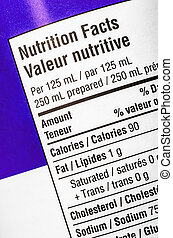 Nutrition Label - Closeup of a nutrition label, showing...