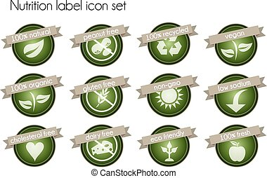 Nutrition label icon set - Nutrition facts label icon set...