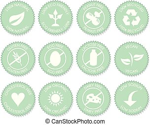 Nutrition label icon set vector - Pink Nutrition blue label...