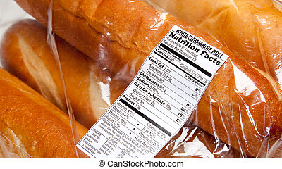 Nutrition label on loaves of french bread