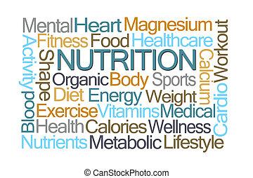 nutrition, mot, nuage