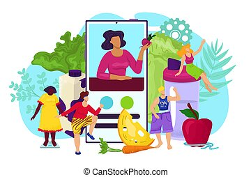 Nutrition online app for healthy woman diet in smartphone concept, vector illustration. Sport fitness lifestyle, cartoon weight loss training