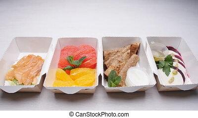 nutrition, organique, sain, concept., régime, livraison, nourriture, fitness, naturel, blanc, table