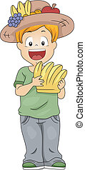 Nutrition Week - Illustration of a Kid Holding Bananas
