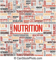 Nutrition word cloud collage
